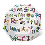 Paraguas Plegable Automático Impermeable Números de Juego de Alfabeto Divertido, Paraguas De Viaje Compacto A Prueba De Viento, Folding Umbrella, Dosel Reforzado, Mango Ergonómico