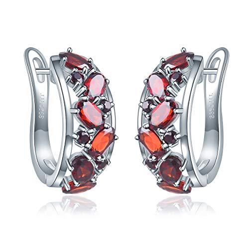 Pendientes de aro de granate natural, plata de ley 925, piedras preciosas rojas, diseño elegante para mujer, el mejor regalo