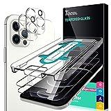 TOCOL 4 Stück Schutzfolie Kompatibel mit iPhone 12 Pro 5G 6.1 Zoll 2 Stück und 2 Stück Kamera Panzerglas HD Displayschutzfolie 9H Hartglas Blasenfrei Positionierungsrahmen Blasenfrei
