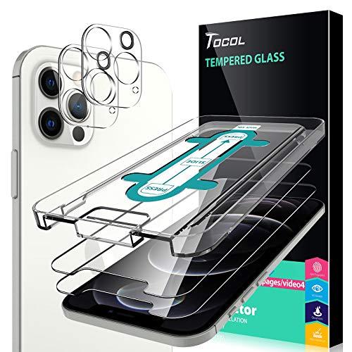 TOCOL 4 Stück Schutzfolie Kompatibel mit iPhone 12 Pro 5G 6.1 Zoll 2 Stück & 2 Stück Kamera Panzerglas HD Bildschirmschutzfolie 9H Hartglas Blasenfrei Positionierungsrahmen Blasenfrei