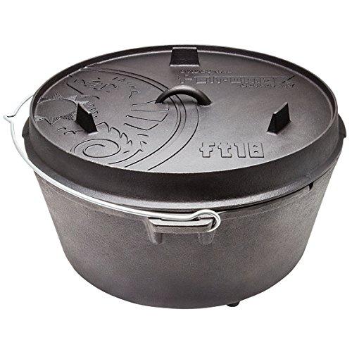 Feuertopf ft18 aus Gusseisen Deckel auch als Pfanne nutzbar mit Füßen • Dutch Oven Schmortopf Grill Topf Töpfe Bräter