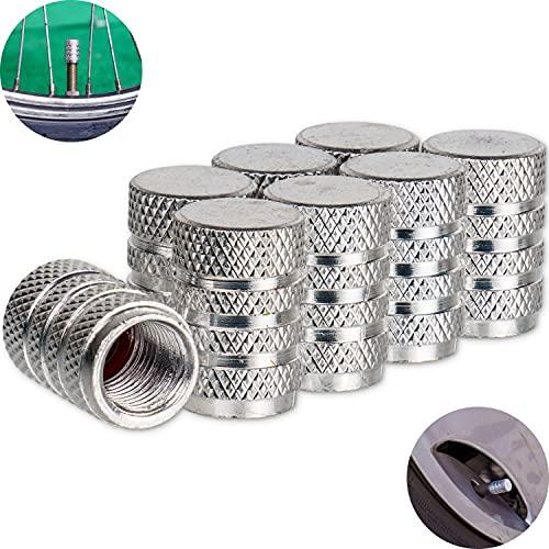 Set di 8 tappi per valvole auto, in alluminio, color argento, con guarnizione, per bicicletta, moto, auto, rimorchio, scooter, tappi per valvole d'aria, tappi antipolvere per valvole auto, set da 8