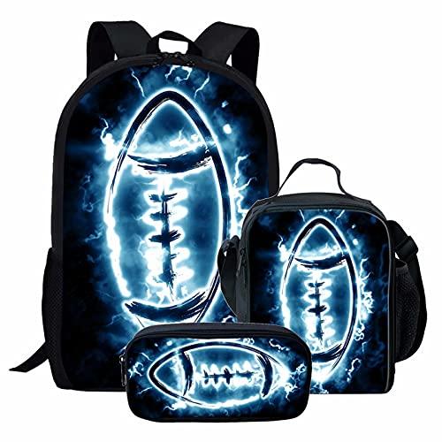 NETILGEN Backpack Lightning Rugby 3 Piece School Set with Lunch Bag, Pencil...
