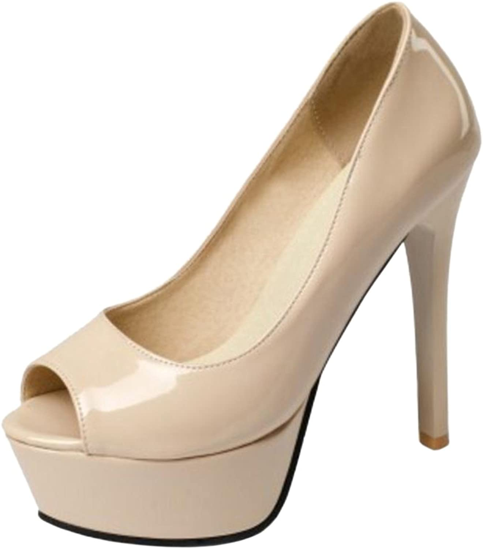 FizaiZifai Women Solid Peep Toe Pumps