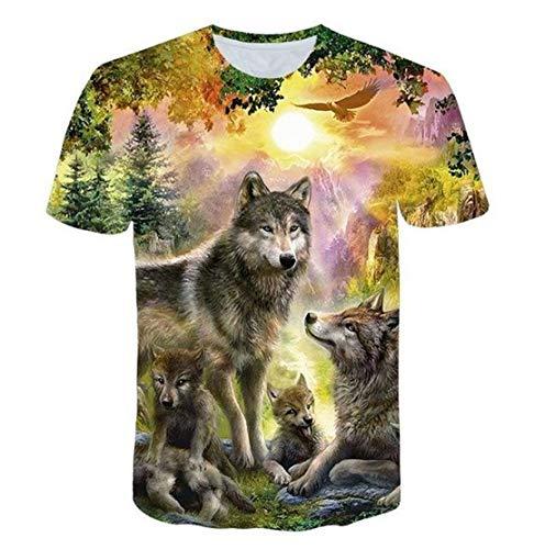 Amantes Lobo Impreso T Shirts Men 3D T Shirts Top tee tee CAMISETE Casto Casto Casto Camiseta T6365 2XL