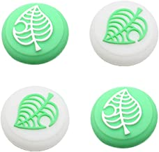 Switch Thumb Grip Caps Joystick Cap for Nintendo Switch & Lite Animal Crossing Tree Leaf Design (4 PCS Green & White)