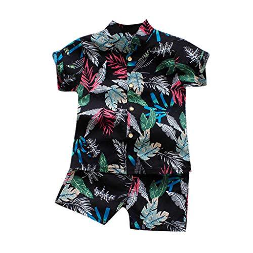 Xmiral Kleinkind Jungen 2er Outfits Kurzarm Hemd Shorts Baby Kinder Cartoon-Druck Kleidung Set Lässige Unisex Sommer Beachwear Gentleman Anzug(I Schwarz,2-3 Jahre)