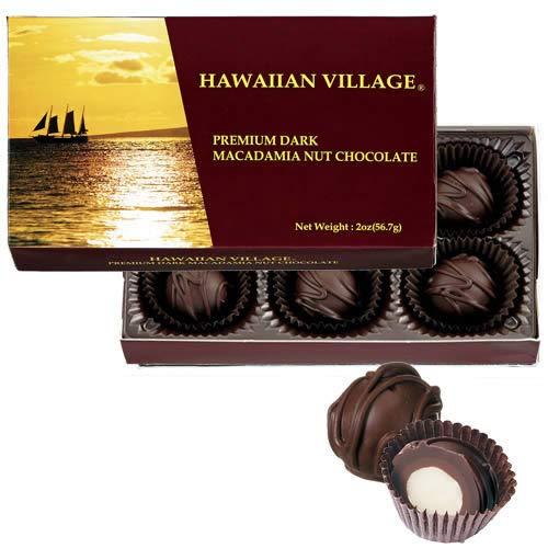 ハワイアンビレッジ マカダミアナッツ ダークチョコ 6粒入 1箱