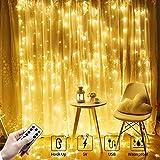 Plartree 3x3M Cortina de Luz, Cadena de Luces de Cortina USB, Luz de Hadas con 8 Modos de Iluminación Brillo Ajustable, Luces Decorativas para Ventana, Fiesta, Boda
