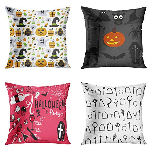 Sgvsdg Set of 4 Throw Pillow Covers 18 x 18 Inch Halloween Stickers Collection Labels Invitation Party Pictograms Cross Square Home Sofa Living Room Cushion Decorative Pillowcase
