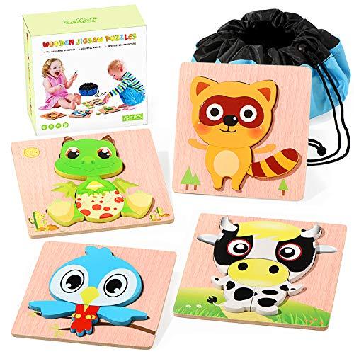 Joyjoz Infantiles Puzzles de Madera 4 PCS Puzzle Animales Juguetes Montessori con Bolso de Almacenamiento Juegos Educativos para Niños de 3 años Niños Niñas