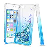 Tmacker Apple iPod Touch 7/6/5 Case,iPod Touch 7th/ 6th/ 5th Generation Phone Case with Tempered Glass Screen Protector,Glitter Liquid Quicksand Shockproof Protective Phone Cover for Girls Women-Teal