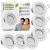 6x Lumare LED Einbaustrahler 4W 400 Lumen IP44 nur 27mm extra flach Einbautiefe LED Leuchtmodul austauschbar Deckenspot AC 230V 120° Deckenlampe Einbauspot warmweiß weiß rund Badezimmer