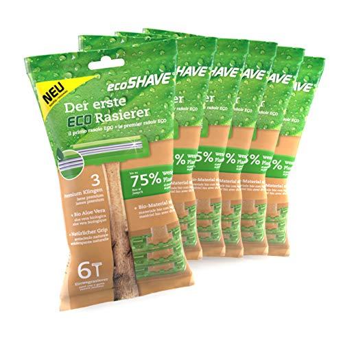EcoShave nachhaltiger Einwegrasierer, 75 Prozent weniger Plastik, 3 Premium Klingen, Rasierer nass für Damen und Herren (36 Rasierer)