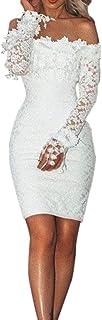 PAOLIAN_Vestido Para Mujer, Vestido Fiesta Corto Mini Sexy Ajustado para Mujer Otoño Invierno,PAOLIAN Vestido para Boda de Novia Encaje Manga Larga Hombro Descubierto Vestido de la Cadera Mujer Blanco Primavera