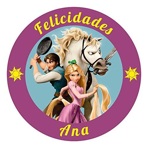 OBLEA de Papel de azúcar Personalizada, 19 cm, diseño de Disney Rapunzel Enredados