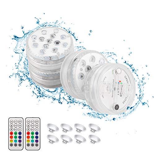 BLOOMWIN Unterwasser Licht, LED Unterwasserleuchten Poolbeleuchtung IP68 Wasserdichte LED Leuchten mit RF Fernbedienung für Schwimmbad, Fish Tank Dekorationen Teichbeleuchtung (4er-Set)