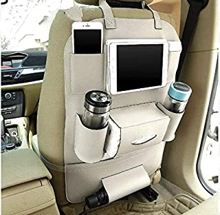 MULTIFARIOUS PU Leather Car Backseat Organizer Waterproof Back Seat Storage Pockets with Tablet, Mobile, Bottle, Tissue Bo...
