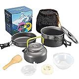 AUWU Acampa cocinando Conjunto de Utensilios de Cocina Que acampa Kit, Pot, Hervidor, Pan con Accesorios para la Pesca con Mochila de Picnic Senderismo