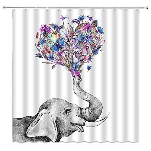 Xnichohe Elefanten-Duschvorhang, Aquarell, Wildschwarz & weiß, Tiere, violett, blau, Blumen, Kornblumen, Blätter, Schmetterling, Pflanze, Polyester-Stoff, Vorhang-Dekor-Set mit Haken, 178 x 178 cm