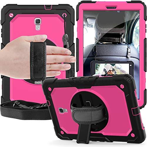 GUOQING Funda para tablet PC Samsung Galaxy Tab A 10.5/T590/T595 Tres capas a prueba de golpes, soporte giratorio de 360 grados, correa de mano y correa de hombro PC+funda protectora de silicona