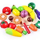 PBTRM Madera Juegos Alimentos Set Cortar Frutas Verduras Juguete, Comida Accesorios Cocina Juego Educativo Juguetes para Niños Niñas