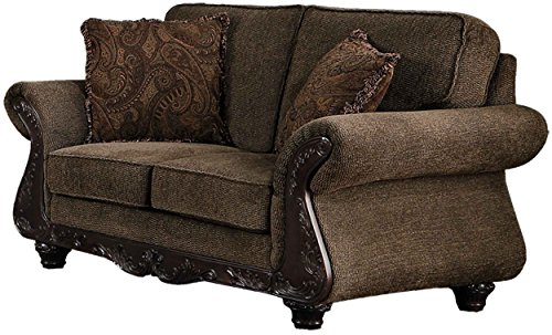 Homelegance Mandeville Classic Modern Loveseat with Fine Wood Carving Curved Armrest Chenille, Brown
