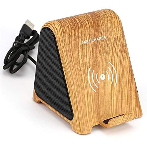 Altavoces Bluetooth estéreo HiFi de Grano de Madera, Reproductor de música Impermeable de 2 Canales, Cargador inalámbrico de 7,5 W / 10 W para teléfono