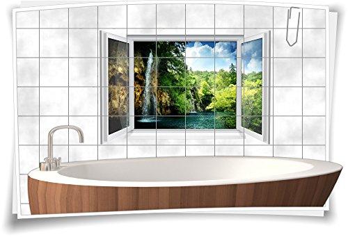 Medianlux Fliesenaufkleber Fliesenbild Fliesen Aufkleber Sticker Natur Wald Wasser Wasserfall See Bad WC Deko, 150x100cm, 20x25cm (BxH)