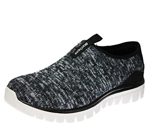 Skechers Graceful 2.0 Perfect Happiness, Womens Slip On Fashion Sneakers, Black/White Knit, 8.5 US