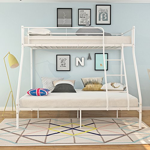 Panana 3 Colors Available Twins Metal Bunk Bed Triple Sleeper Single Top Double Bottom Bedstead for Kids Adults (White)