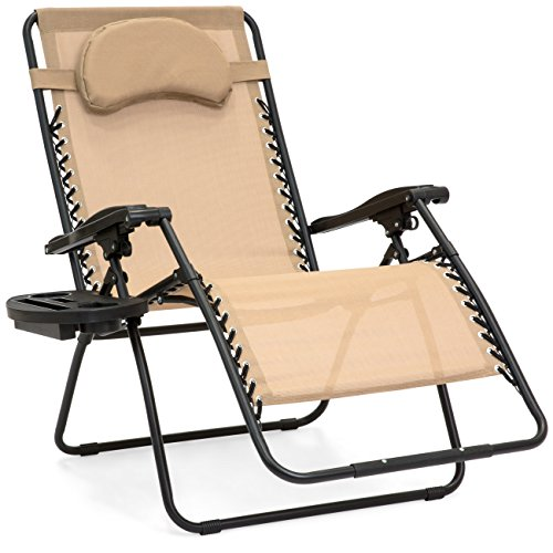 Best Choice Products Oversized Folding Mesh Zero Gravity Recliner Chair w/Cup Holder Accessory Tray and Removable Pillow, Tan