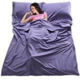 JUISEE Sleeping Bag Liner Lightweight Portable Sleeping Sheet Dirt-Proof Compact Travel Camping Sheet for Outdoor Travel Hiking Hotels Picnics (Purple, 83x63'')