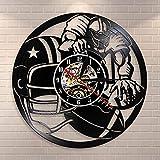 Cwanmh Joueur de Football Sport décoration Murale Horloge Murale Jeu de Football américain Vintage Vinyle Disque Horloge Murale Rugby Rugby Cadeau Lui Donner 30x30 cm
