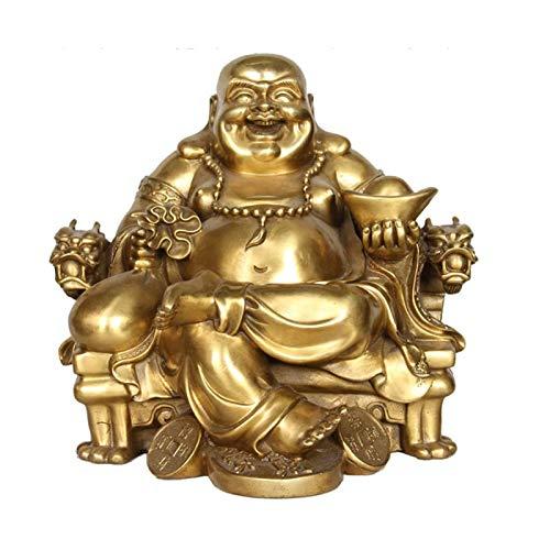 Adornos De Oro Risa Estatua De Buda Maitreya Buda Dios De La Riqueza Sentado En Una Silla De Dragón Escultura Figura Feng Shui Oficina Decoración,Small