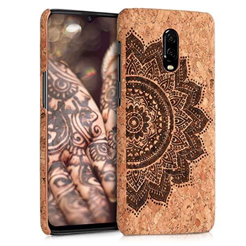kwmobile Cover in sughero compatibile con OnePlus 6T - Backcover protettiva - Case protezione rigida smartphone - Mandala Ethnic marrone scuro/marrone chiaro