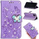 iphone11 ケース 手帳型 紫 蝶柄 iphone11 手帳型ケース かわいい 花柄 アイフォン11 ケース ……