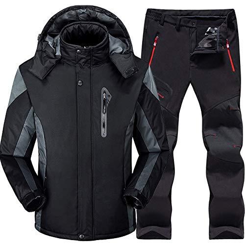 Combinaison Ski Hommes Ensembles Ski et Snowboard Super Chaud Imperméable Coupe-Vent Snowboard Veste Pantalon Hiver Snow Suits Homme, Noir, XL