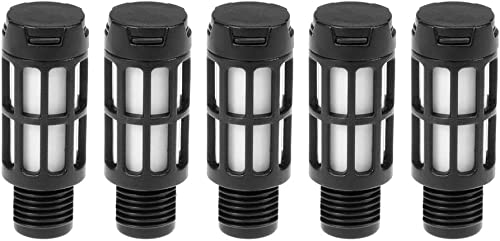 "Quickun Plastic Exhaust Air Silencer, 1/4"" Air Line Pneumatic Muffler Black Air Compressor Fitting (Pack of 5)"