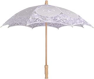 YJYdada Lace Embroidered Sun Parasol Umbrella Bridal Wedding Dancing Party Photo Show (Small, White)