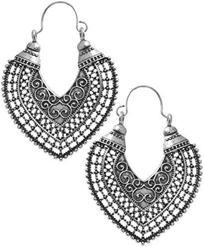 2LIVEfor Traumhafte Ohrringe Ethno Gross verziert Tropfen Ohrringe Bohemian Vintage Ohrringe lang Hängend Antik Style Silber Ornamente Creolen Rund Creole Ornamente