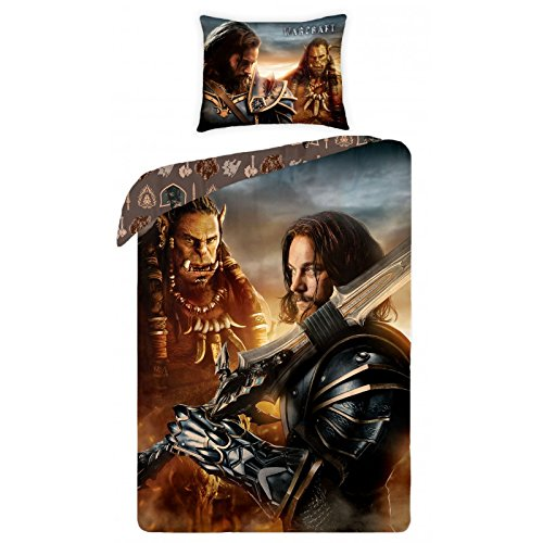 Warcraft Parure Linge de lit réversible 100% Coton Housse de Couette 140x200 + Taie d'oreiller 70x90 Idée Déco Edition Limitée