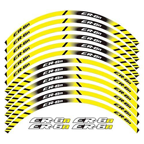 Hjunisshkm Un Conjunto de calcomanías de Rueda de Motocicleta de 12 unids Impermeable Pegatinas Reflectantes Rimas de llanta para Todos Ka*wasa*ki ER-6N ahdyj (Color : Yellow)