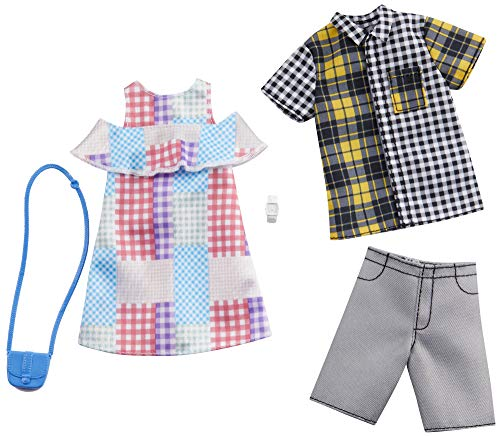 Barbie Fashion Pack with 1 Outfit of Gingham Patterned Dress & 1 Accessory Doll & Plaid Shirt, Shorts & Accessory for Ken Doll, Gift for 3 to 8 Year Olds -  Mattel, GHX72