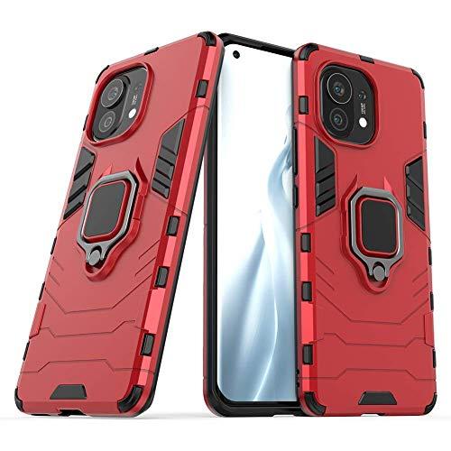 BeyondTop Funda Tough Armor para Xiaomi Mi 11 Tapa Trasera con 360 Degree Anillo Kickstand Antigolpes Carcasas y Fundas Dura para Xiaomi Mi 11-Rojo