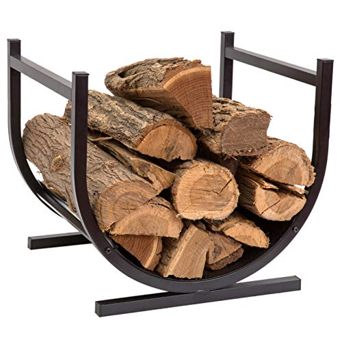 Amagabeli 2Pack Firewood Bracket Log Rack Outdoor Wood Storage Fireplace Lumber Pile Holder Stacker Kit DIY Heavy Duty Steel Fire Pit Accessory Adjustable to Any Length and Height Screw Included Black