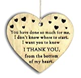 Pet-Jos Placa de madera con forma de corazón para colgar con texto en inglés 'Thank You'