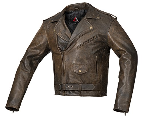 Bohmberg Herren Lederjacke Antikleder Rockabilly Chopper Retro Biker Leder Jacke Rocker Brandostyle (XXL)
