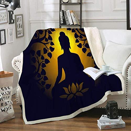Manta Boho Manta de Tiro de Oro Negro Sherpa Fleece Manta Estatua de Buda con Hojas Diseño de patrón de Flores de Loto Manta Suave y acogedora para Cama Sofá Viaje Camping (Oro Negro, Doble (60 'x 80