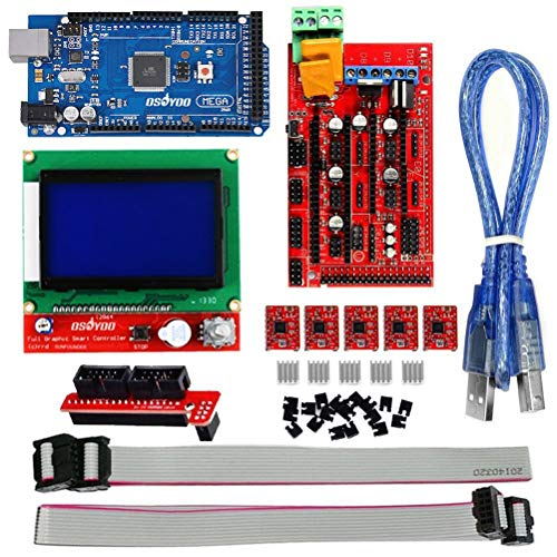 Yardwe 3D Printer Kit with RAMPS 1.4 Controller + Mega 2560 Board + 5pcs A4988 Stepper Motor Driver with Heatsink + LCD 12864 Graphic Smart Display Controller with Adapter for Arduino RepRap